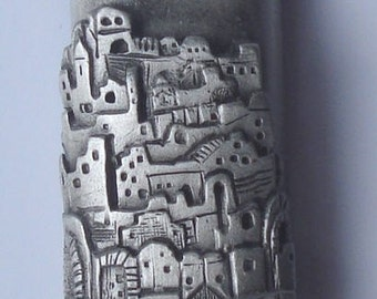 Pewter Mezuzah - City of Jerusalem - Mezuzah for The Door
