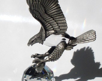 Pewter Eagle made with Swarovski Crystal