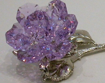 Purple Rose made with Swarovski Crystal