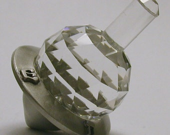 Crystal and Pewter Dreidel made with Swarovski Crystal