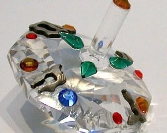 Multi-Colored crystal Dreidel made with Swarovski Crystal