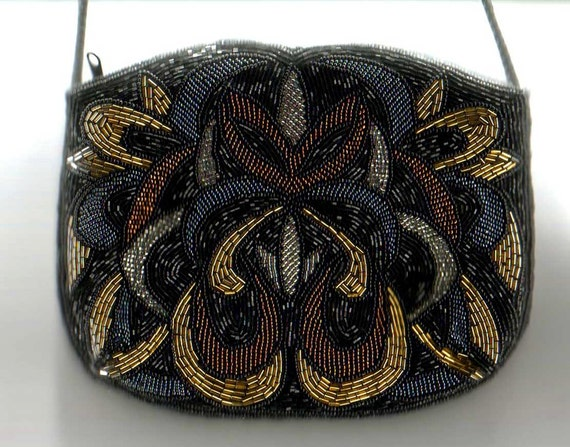 Beaded Carla Marchi purse evening bag in art deco pattern of black gold copper and silver beads