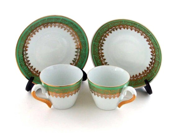 Antique Green and Gold Demitasse Cup and Saucer Pair
