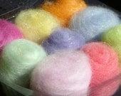 Merino Colonial Pastel Fantasy Fiber Sampler 9 Colors Angelina Blends Needle Felting Sampler