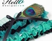 Wedding Garter Set, Bridal Garter Set, Boudoir Garter Set - Cancun Teal Blue Peacock Bridal Garter SET