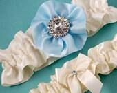 Wedding Garter Set, Bridal Garter Set, Boudoir Garter, Prom Garter - Eggshell White and Something Blue Royal Garter SET