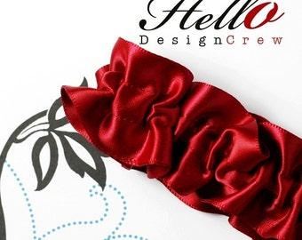 Bridal Garter Crimson Red Garter SINGLE - MED/LG