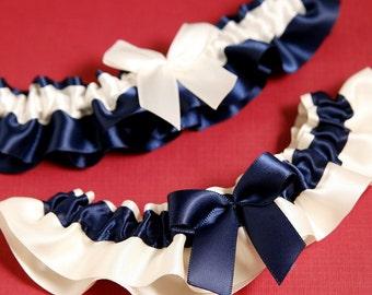 Wedding Garter Set, Boudoir Garter Set, Bridal Garter Set, Prom Garter Set - Ivory and Navy Simplicity Garter SET