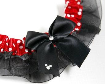 Wedding Garter, Bridal Garter, Boudoir Garter, Prom Garter - Mouse Polka Dot Garter Single