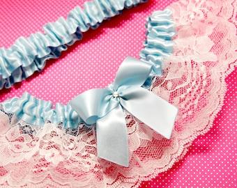 Wedding Garter Set, Boudoir Garter Set, Bridal Garter Set, Prom Garter - Classic Something Blue and White Lace Garter SET