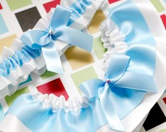 Wedding Garter Set, Boudoir Garter Set, Bridal Garter Set, Prom Garter -  Something Baby Blue Garter SET