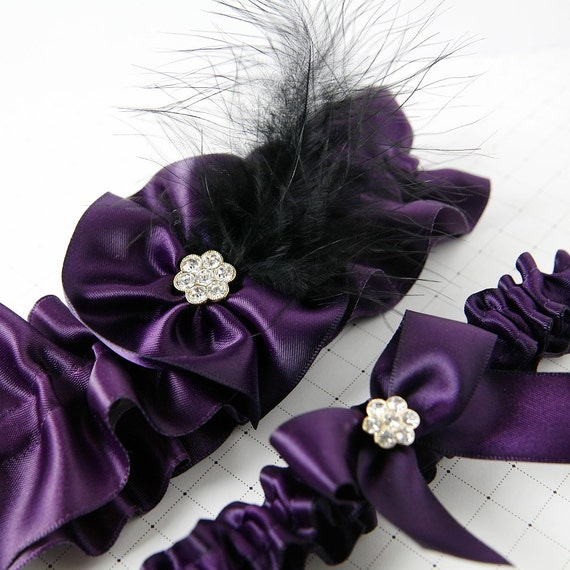 SM/MED Royal Purple Couture Feather Garter SET