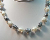 Necklace- Freshwater Pearls in Wire Mesh