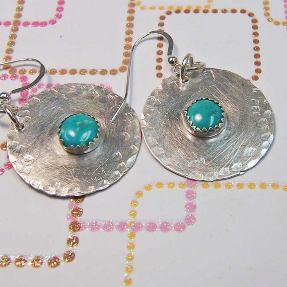 Earrings- Sterling SIlver Disc with Turquoise Cabochons