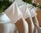 Four Burlap Ruffle Stockings White