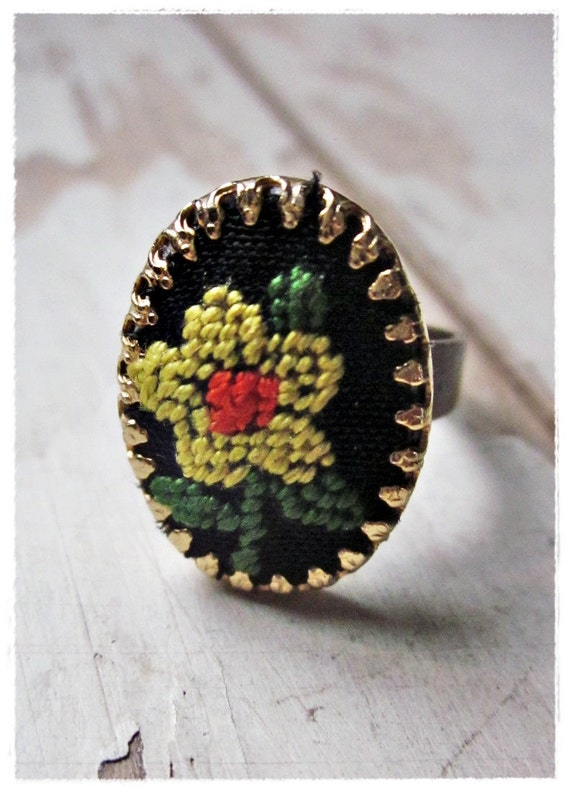 Vintage Flower Ring, Yellow, Black, Upcycled Needlepoint Jewelry