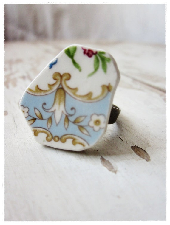 Vintage China Ring, Blue Floral Cocktail Ring, One of a Kind Upcycled Shabby and Chic Jewelry