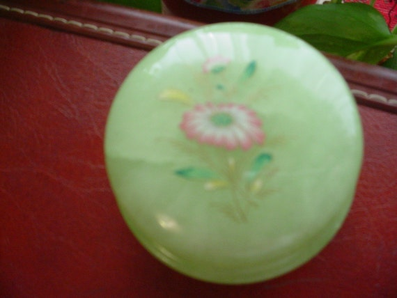 Vintage 1950's Green Alabaster Round old cold cream jar/container with a flower on the top Hinged lid. Sweet!