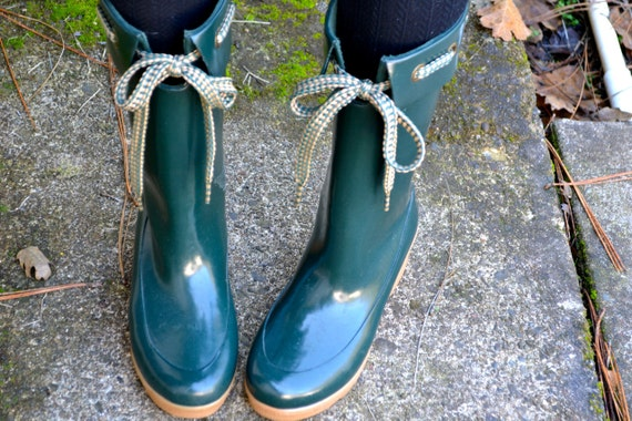 Dancin' In The Rain 80's Dark Green 7 M Wedge Tie Rubber Rain Boots