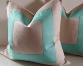 "Set of Two - Decorative Pillows - 18 - 20 - 22""  - aqua pillows - oatmeal - Natural cotton fabric with ribbon embellishment - Made to Order"