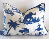Waverly - Canton Bazaar - Chinoiserie - 14 X 20 inch - Decorative Pillow - Navy Blue - Cream - Accent Pillow  - made to order