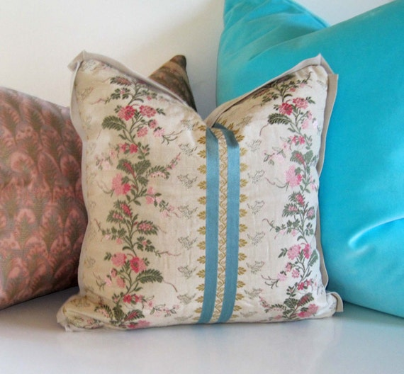 25% off Sale - French Floral Pillow - 12 inch - Floral Silk - Brocade - Honeysuckle Pink  - Marie Antoinette