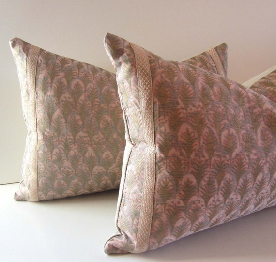 Sale - Set of Two - Decorative Pillows 14 x  20 Rare Vintage Fortuny Honeysuckle Pink Periwinkle Blue and Gold Acanthus Pattern