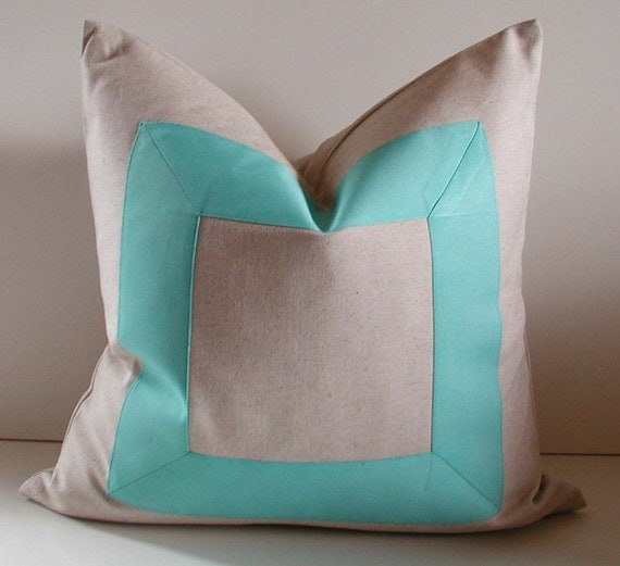Natural cotton - 18 - 20 - 22 inch - Decorative Pillow - fabric with aqua ribbon embellishment - Made to Order