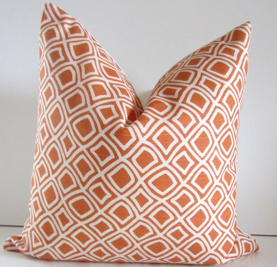 Decorative Pillow - 18 inch - Duralee Fabric - Ivory and Melon/Tangerine Geometric Pillow - Orange Pillow