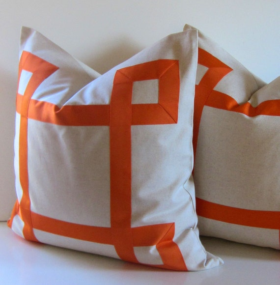 Set of Two -Natural Cotton Pillows - 22 inch - Decorative Pillow - Orange Ribbon embellishment - euro sham - tangerine tango