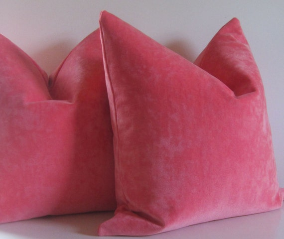 Set of Two - Decorative Pillows -  20 inch - designer quality - pink coral - watermelon - heavy weight velvet - ready to ship