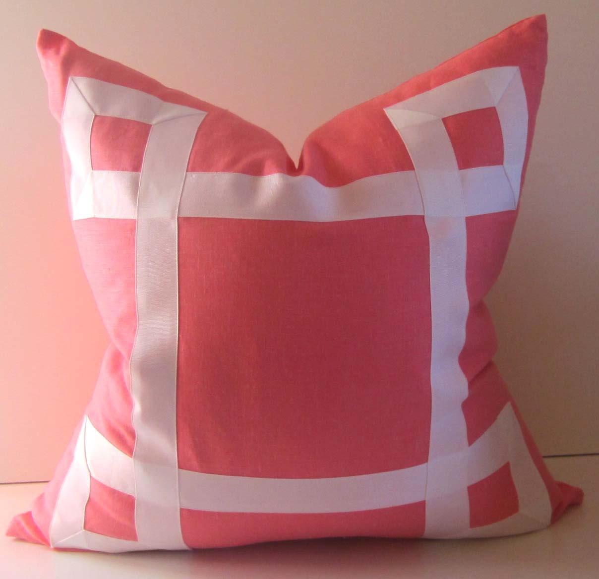 Pink Linen Throw Pillow : Decorative Pillow 19 to 25 inch Coral/Pink Linen White