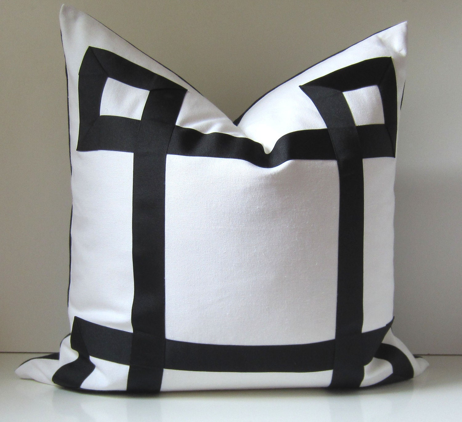 Ultrasoft Euro Square Decorative Sham Pillow White : Black and White Pillow Cover Pick Your Size 17 by studiotullia