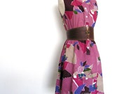Vintage Japanese Abstract Floral Pink Dress