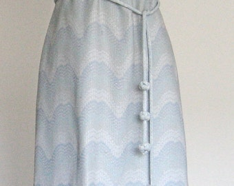 Sale! 60s Silver Stitched Pastel Maxi Dress