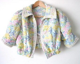 SALE Floral Quilted Puff Crop Jacket - Size S
