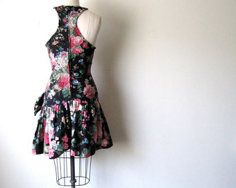 Cotton Body Con Floral Ruffle Racerback Dress - Size S