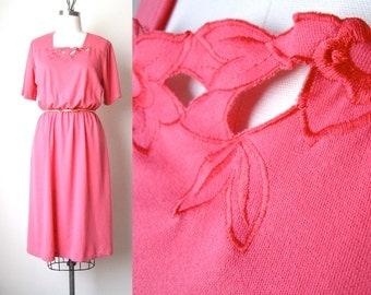 SALE Vintage 70s Floral Cutout Jersey Dress