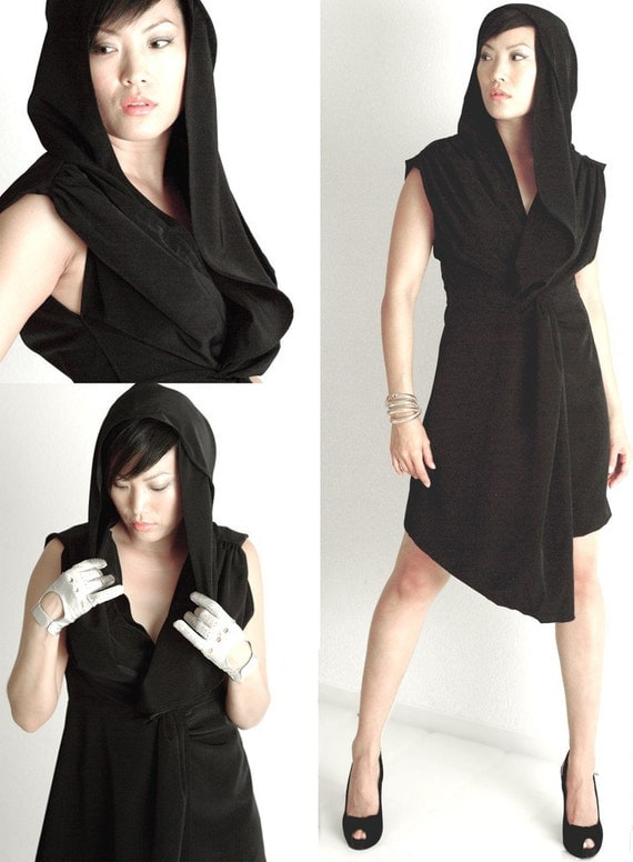Asymmetric Hood Dress