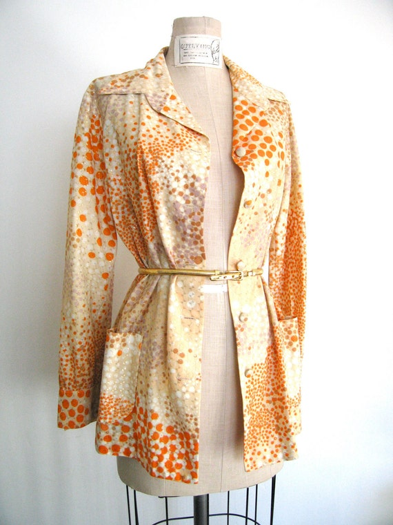 Reserved for edessedesigns   60's Gold Vintage Print jkt or  Blouse