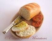 OOAK ARTIST Ham Steak Sandwich In Progress Deli Bread Platter by Crown Jewel Miniatures
