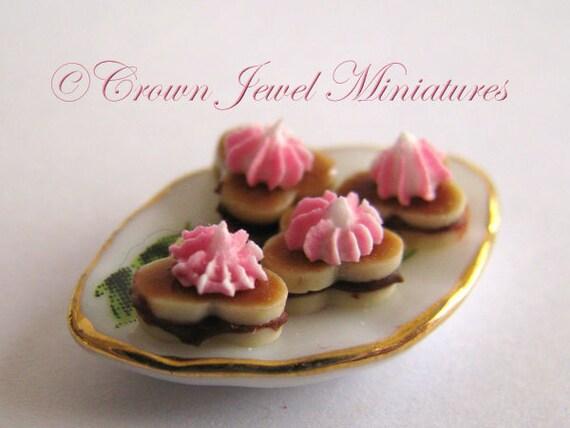 OOAK ARTIST Raspberry Meringue Chocolate Sandwich Cookies by Crown Jewel Miniatures