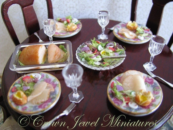 ARTIST Family Turkey Dinner & Salad For Four.  OOAK by Crown Jewel Miniatures