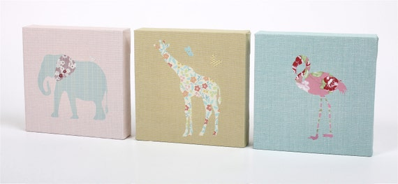 Children's Nursery Wall Art  - Stretched Canvas Prints  - Designer Safari Animals trio