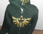 green Legend of Zelda zip up hoodie adult