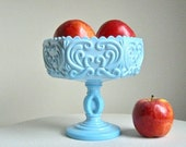 Scroll Pattern Blue Milk Glass Compote by Imperial Glass Co., circa 1960