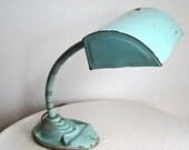 Vintage Aqua Painted Industrial Fortune Goose Neck Lamp