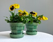 Two Vintage McCoy Pottery Flower Pots in Green -- Small