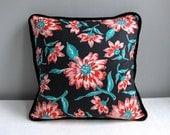 Vintage Fabric Pillow Cover - Black Floral Cotton - 20 Inch Decorative Pillow Throw Pillow