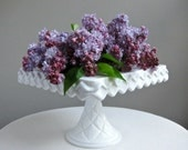 Vintage Milk Glass Square Cake Plate or Stand on Pedestal Foot, circa 1960